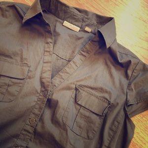 New York & Company Gray Short Sleeve Top